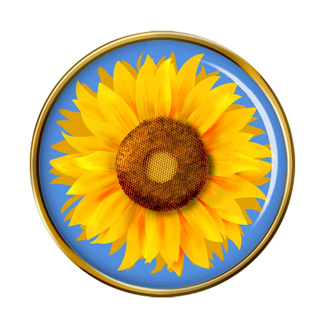Sunflower Round Pin Badge