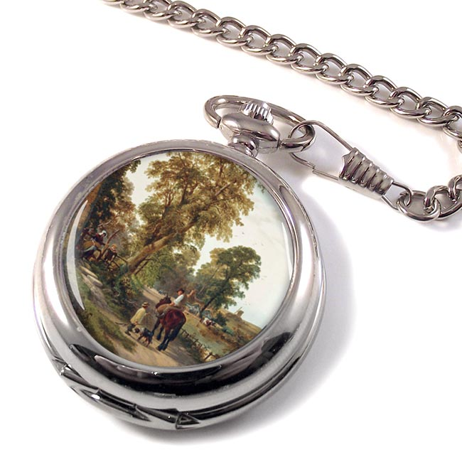 Figures and animals on along a river bank by Thomas Creswick Pocket Watch