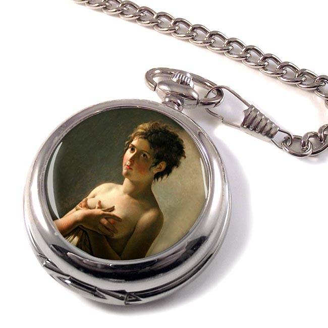 Portrait of a Young Girl  by Pierre-Narcisse Guerin Pocket Watch