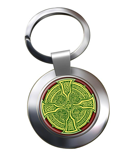 Irish Celtic Cross Chrome Key Ring