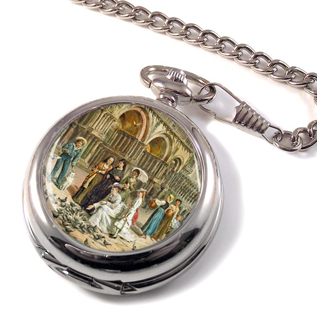 The Pigeons of St Mark's Venice Italy by Lawrence Kilburne Pocket Watch