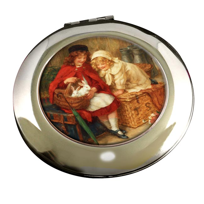 A Peek in the Basket by George Sheridan Knowles Round Mirror