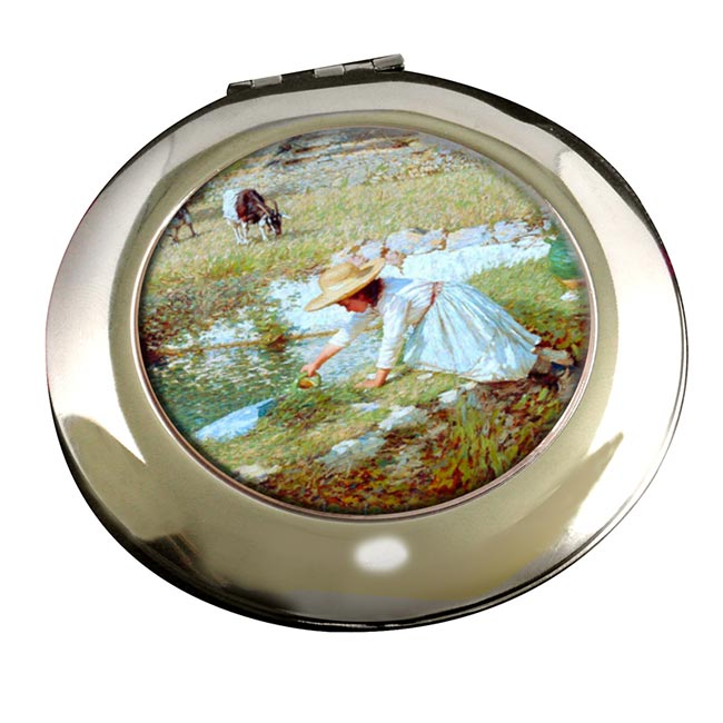 A Provencal Stream by La Thangue Round Mirror