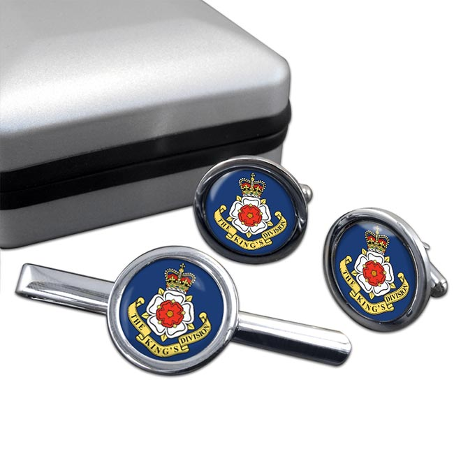 The King's Division (KINGS) Round Cufflink and Tie Clip Set