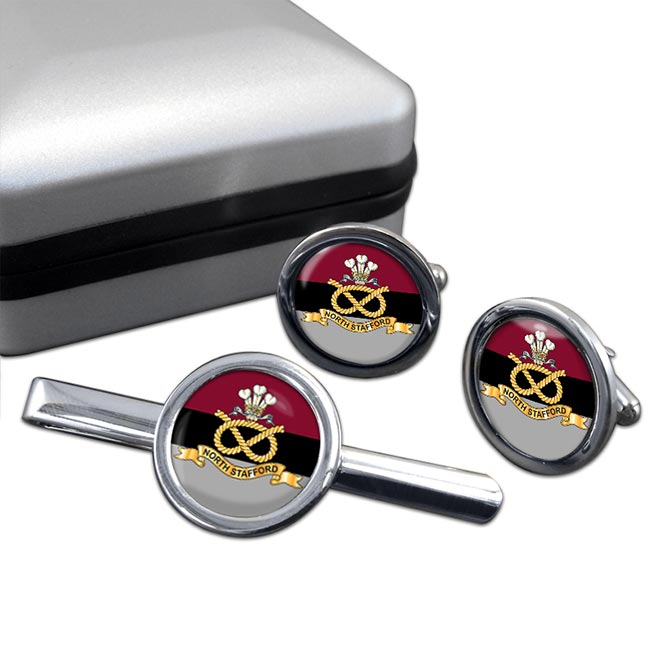 North Staffordshire Regiment Round Cufflink and Tie Clip Set