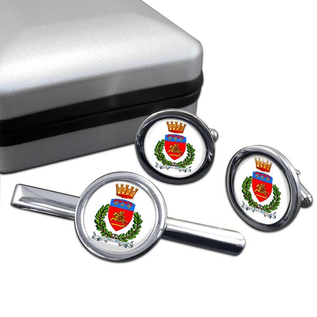 Ancona (Italy) Round Cufflink and Tie Clip Set