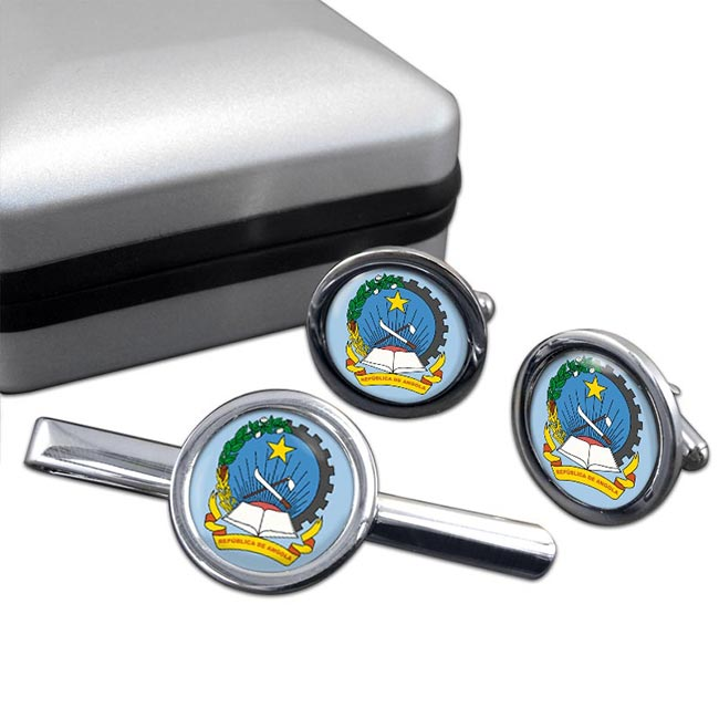 Angola Round Cufflink and Tie Clip Set