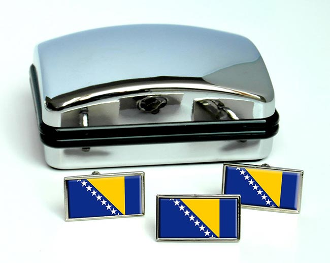 Bosnia and Herzegovina Flag Cufflink and Tie Pin Set
