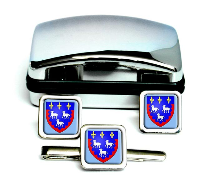 Bourges (France) Square Cufflink and Tie Clip Set