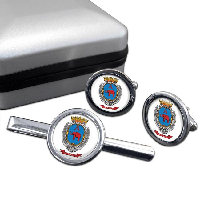 Catania (Italy) Round Cufflink and Tie Clip Set