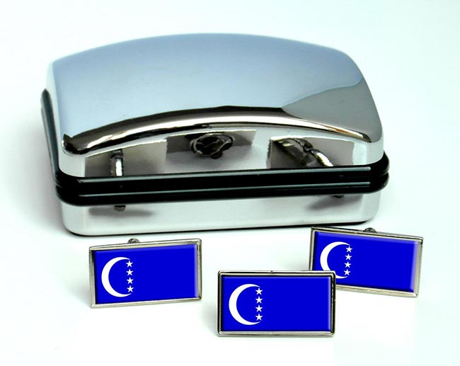 Grande Comore Ngazidja Flag Cufflink and Tie Pin Set