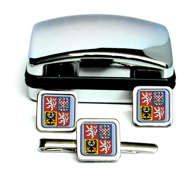 Czech Republic Square Cufflink and Tie Clip Set