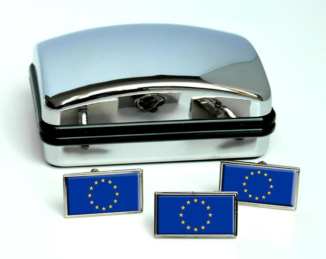 Eueopean Union EU Flag Cufflink and Tie Pin Set