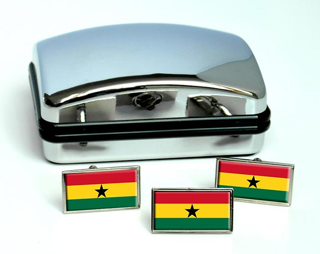 Ghana Flag Cufflink and Tie Pin Set