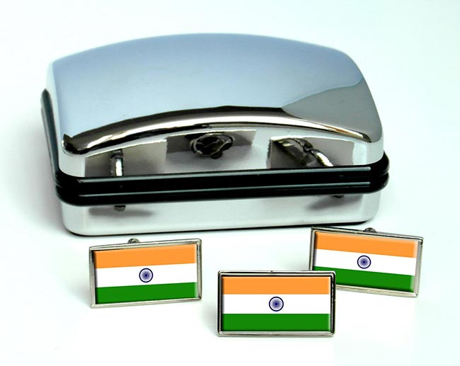 India Flag Cufflink and Tie Pin Set