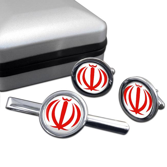 Iran Round Cufflink and Tie Clip Set