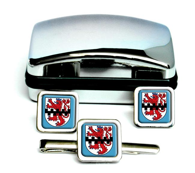 Leverkusen (Germany) Square Cufflink and Tie Clip Set