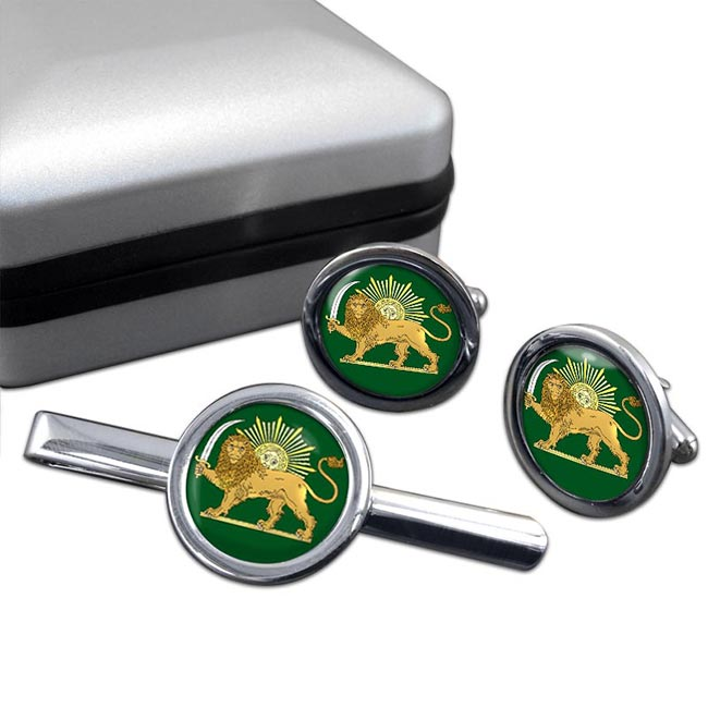 Lion and the Sun Iran Round Cufflink and Tie Clip Set