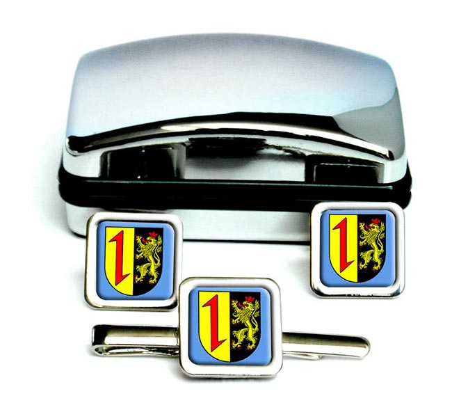 Mannheim (Germany) Square Cufflink and Tie Clip Set