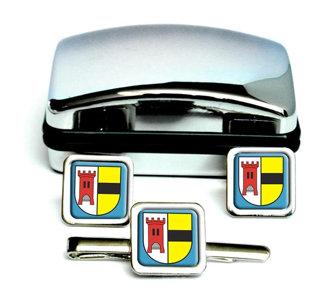 Moers (Germany) Square Cufflink and Tie Clip Set