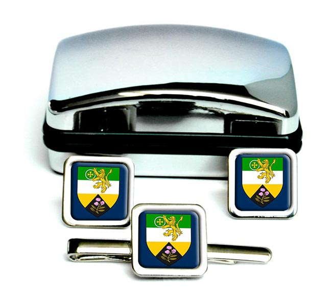 County Offaly (Ireland) Square Cufflink and Tie Clip Set