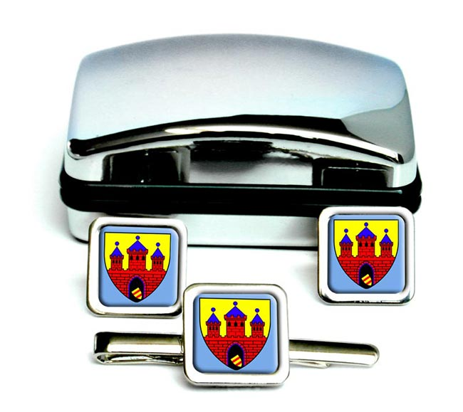 Oldenburg Niedersachsen (Germany) Square Cufflink and Tie Clip Set