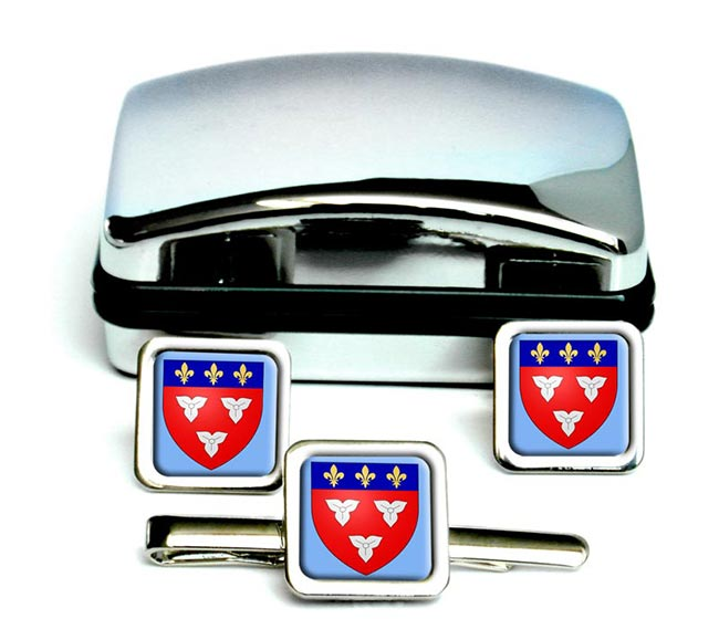 Orleans (France) Square Cufflink and Tie Clip Set