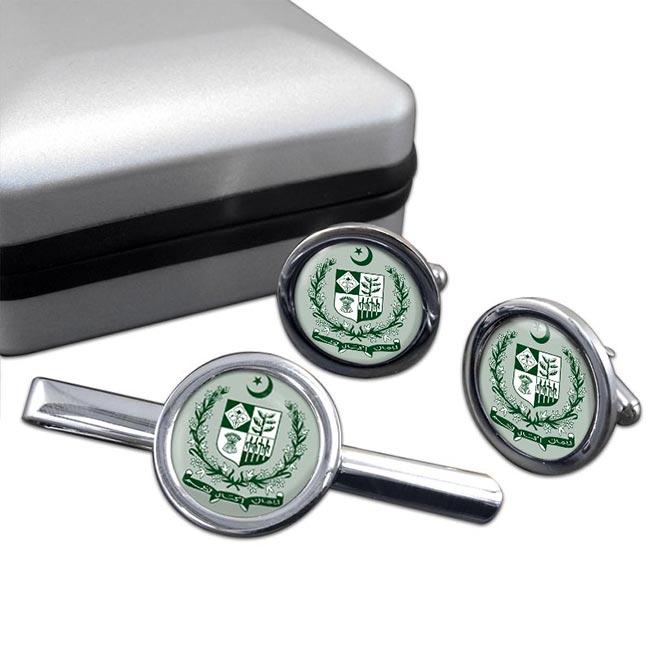Pakistan Round Cufflink and Tie Clip Set