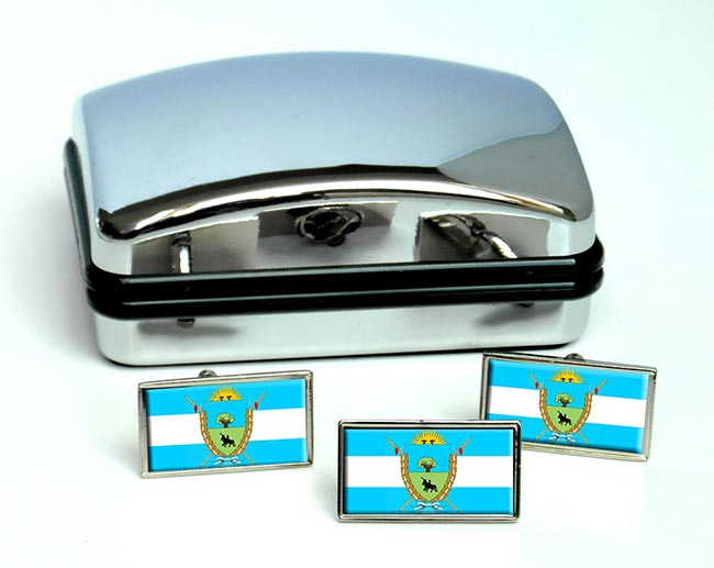 Argentine La Pampa Province Flag Cufflink and Tie Pin Set