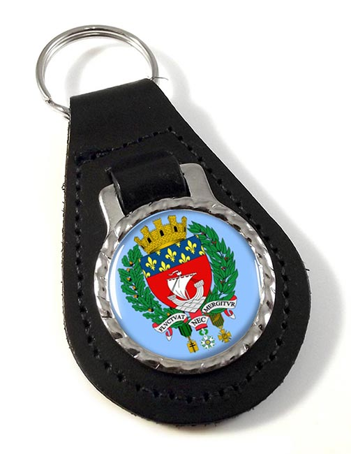 Paris (France) Leather Key Fob