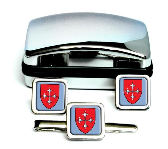 Pisa (Italy) Square Cufflink and Tie Clip Set