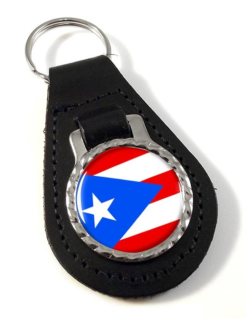 Puerto Rico Leather Key Fob