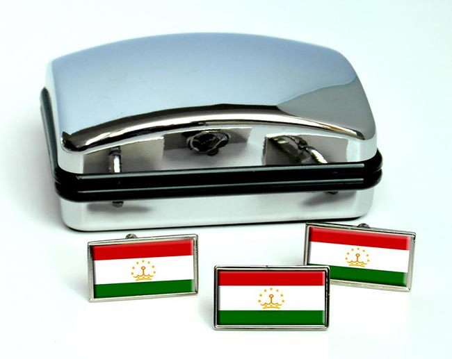 Tajikistan Flag Cufflink and Tie Pin Set