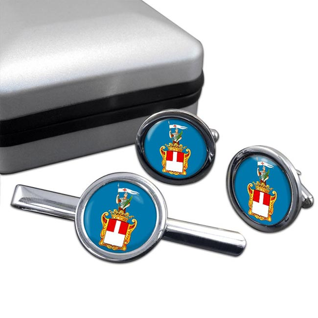 Varese (Italy) Round Cufflink and Tie Clip Set