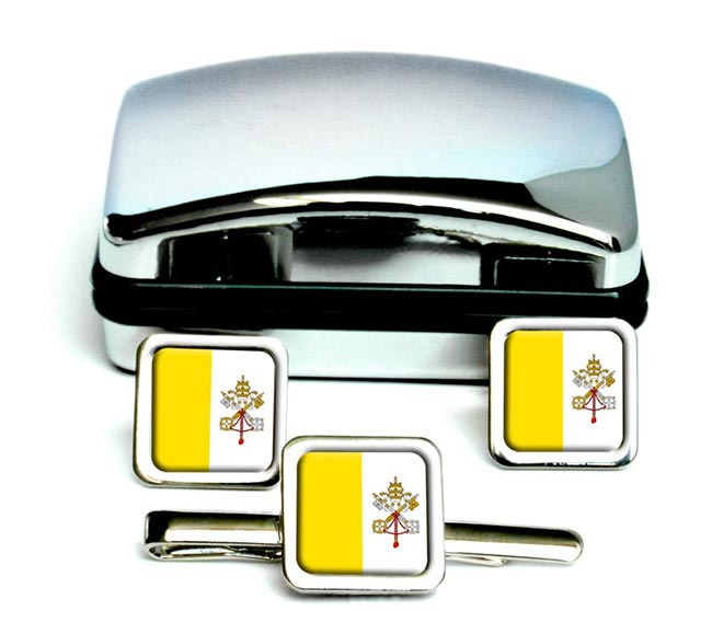 Vatican City Square Cufflink and Tie Clip Set