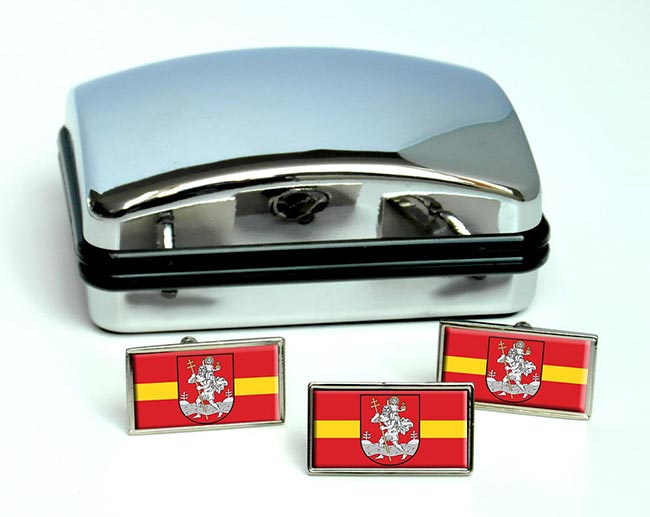 Vilnius (Lithuania) Flag Cufflink and Tie Pin Set