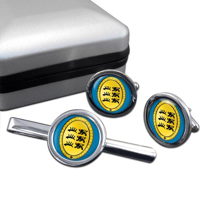 Wurttemberg (Germany) Round Cufflink and Tie Clip Set