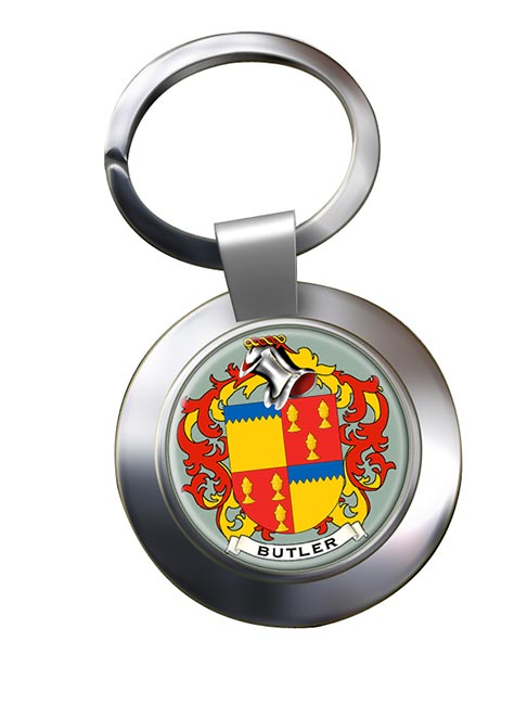 Butler Coat of Arms Chrome Key Ring