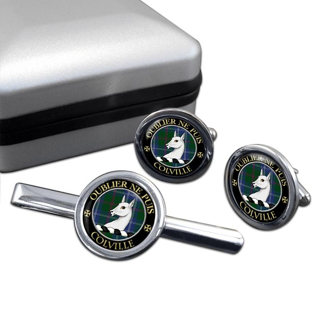 Colville Scottish Clan Round Cufflink and Tie Clip Set