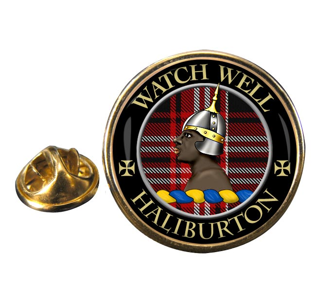 Haliburton Scottish Clan Round Pin Badge