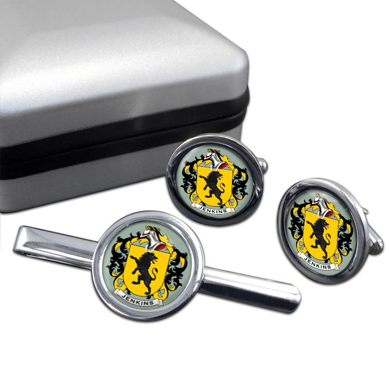 Jenkins Coat of Arms Round Cufflink and Tie Clip Set