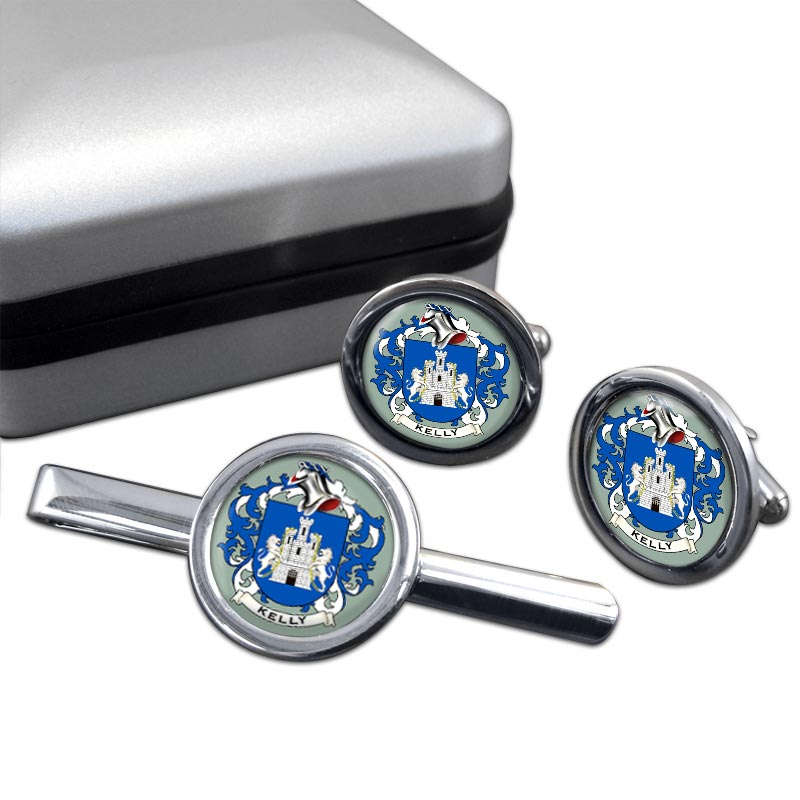 Kelly Coat of Arms Round Cufflink and Tie Clip Set