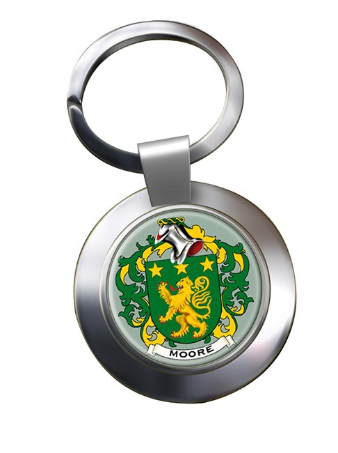 Moore Irish Coat of Arms Chrome Key Ring