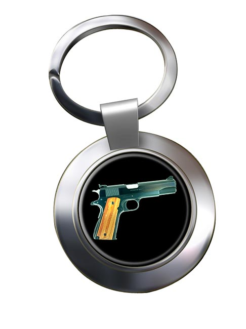 Colt M1911 Pistol Chrome Key Ring