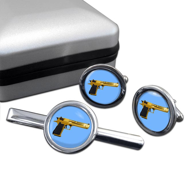 Desert Eagle Round Cufflink and Tie Clip Set