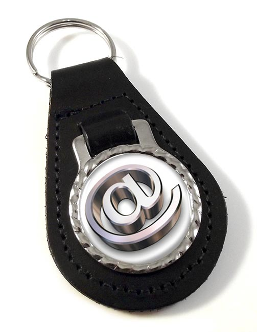 at Sign Leather Key Fob