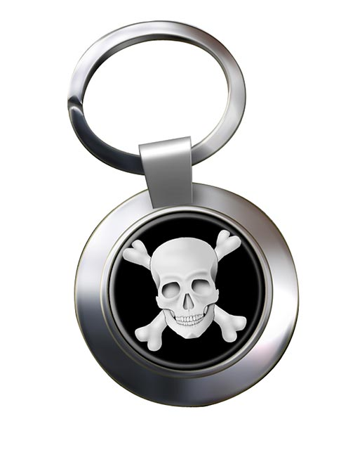 Skull and Crossbones Jolly Roger Chrome Key Ring