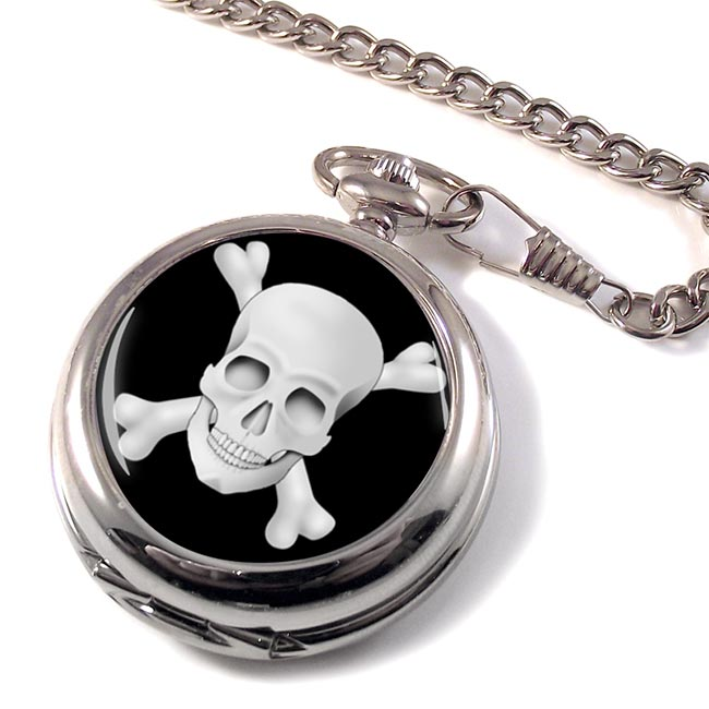 Skull and Crossbones Jolly Roger Pocket Watch