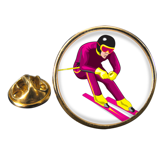 Downhill Skier Round Pin Badge