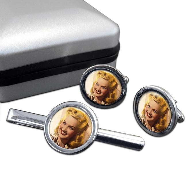 Betty Grable Round Cufflink and Tie Clip Set